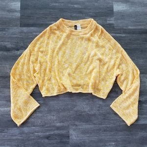 Yellow White Divided Oversized Sweater Wide Sleeve